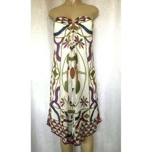 NWT Nicole Miller Strapless Dress Silk Pleat Flare